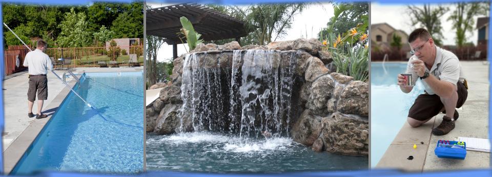 image of pool tech maintaining swimming pool
