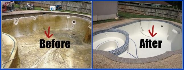 image of before and after pool plaster repair